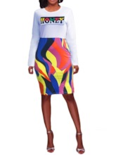 Long Sleeve Round Neck Print Letter Women's Bodycon Dress