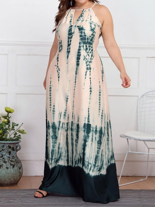 Plus Size Lace-Up Sleeveless Color Block Summer Women's Maxi Dress