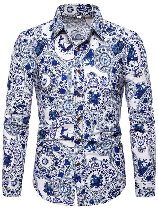 Fashion Color Block Lapel Print Ceramic Printed Tops Slim Men's Shirt