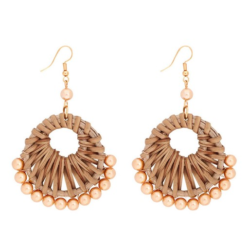 European Woven Wood Party Earrings
