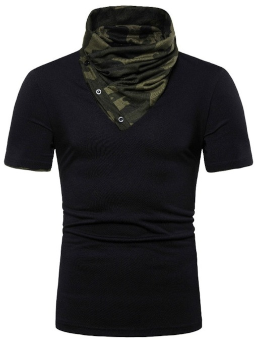 White/Black Casual Heap Collar Camouflage Button Short Sleeve Men's T-shirt