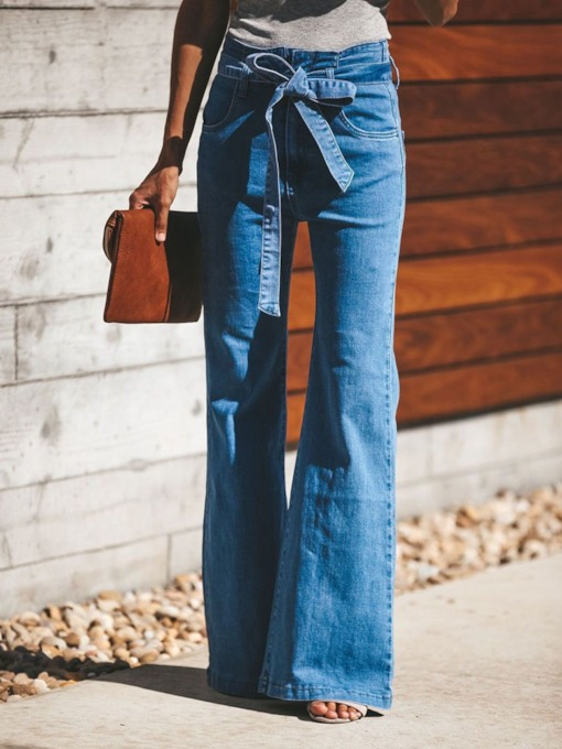 Belt Bellbottoms Plain Slim Women's Jeans
