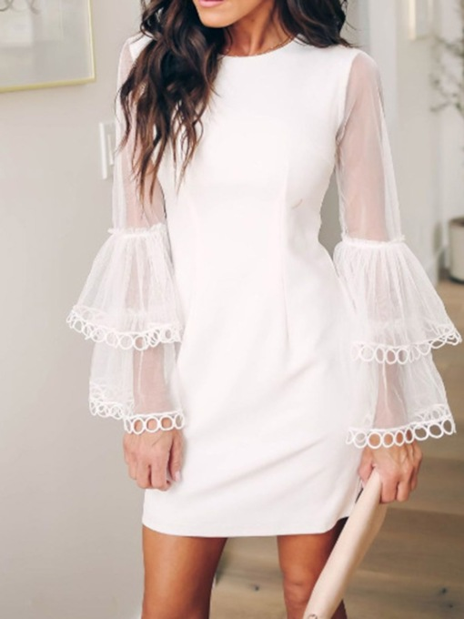 Long Sleeve Round Neck Patchwork Hollow Women's Day Dress