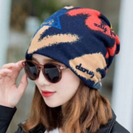 Korean Skullies & Beanies Print Winter Hats