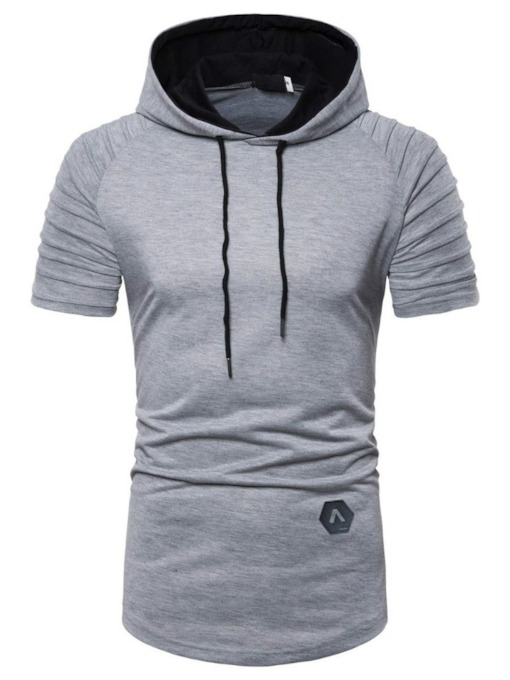 Gray/Black Pleated Plain Casual Hooded Loose Men's T-shirt