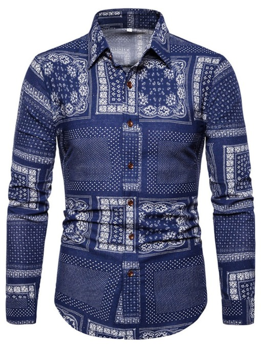 African Fashion Fashion Print Lapel Floral Single-Breasted Men's Shirt
