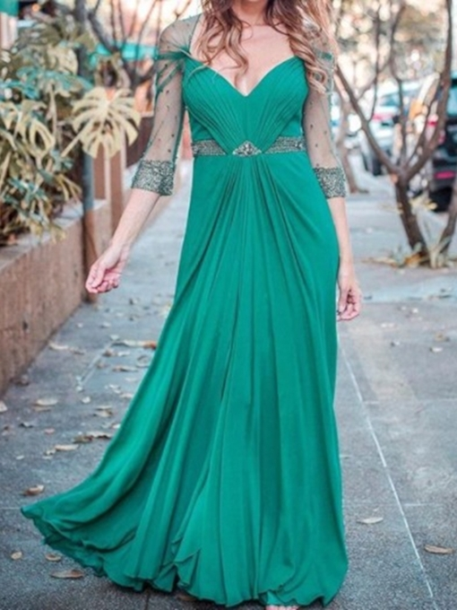 Pick-Ups A-Line 3/4 Length Sleeves V-Neck Prom Dress 2019