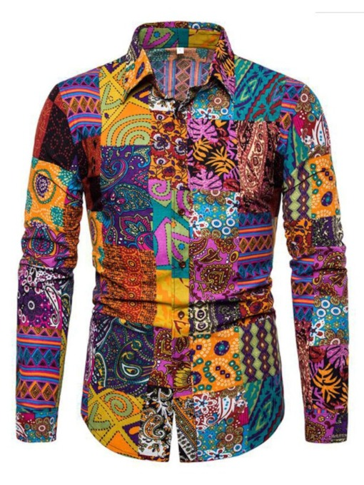 African Fashion Dashiki Style Print Lapel Floral Fashion Slim Men's Shirt