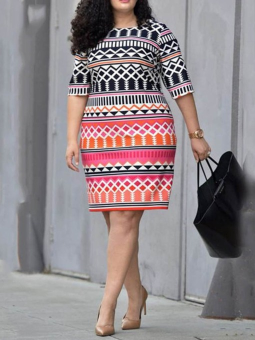 Plus Size Half Sleeve Print Round Neck Regular Women's Dress