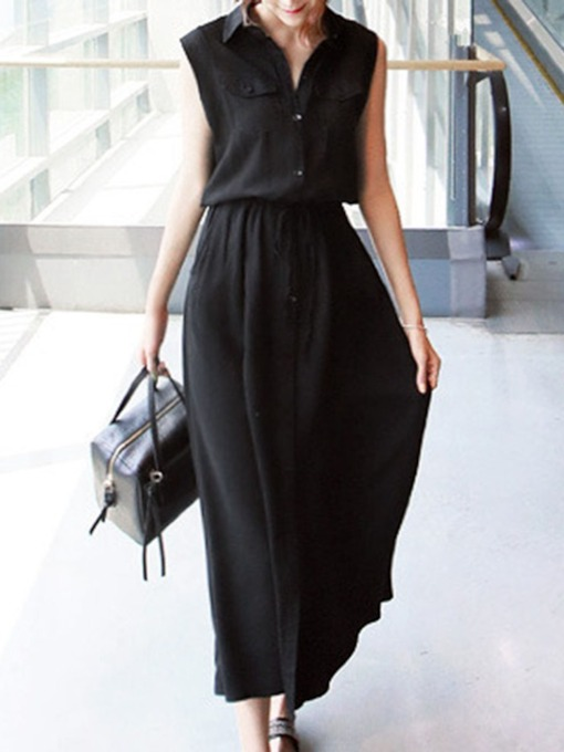 Lace-Up Sleeveless Button Ankle-Length Lapel A-Line Women's Dress