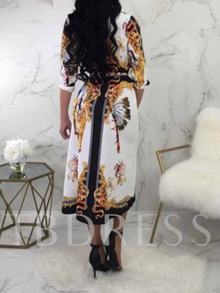 Lace-Up V-Neck Three-Quarter Sleeve Pullover Women's Maxi Dress