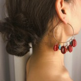 Bronze Color Block Ethnic Party Earrings