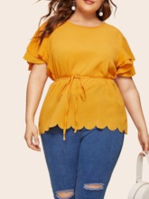 Plain Falbala Round Neck Ruffle Sleeve Mid-Length Plus Size Women's Blouse