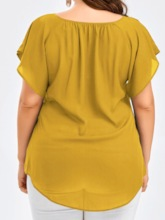 Plus Size Plain Bowknot V-Neck Short Sleeve Women's Blouse