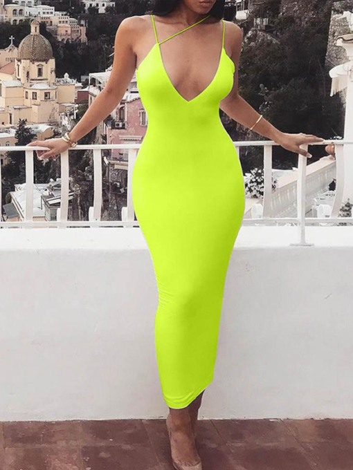Sleeveless Backless Mid-Calf V-Neck Summer Women's Maxi Dress