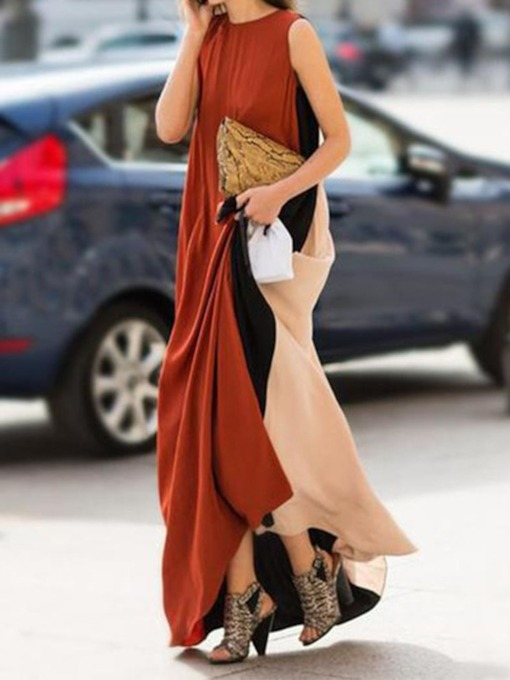 Round Neck Sleeveless Color Block Backless Women's Maxi Dress