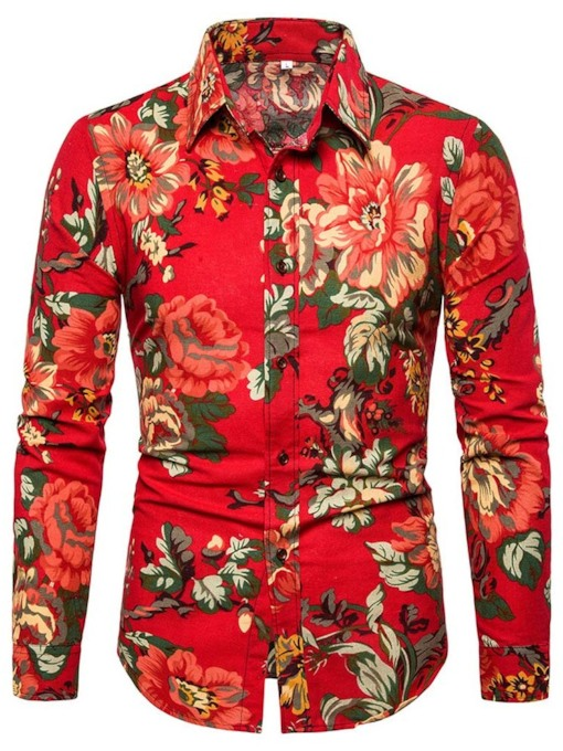 chemise africaine mode bouton revers mince floral mince hommes