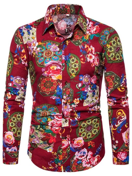 Dark Blue/Red Red Floral Print Casual Button Lapel Color Block Single-Breasted Men's Shirt
