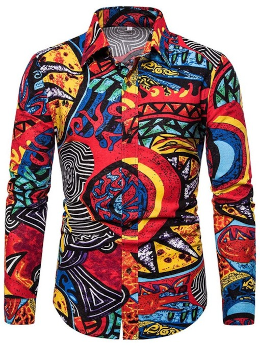 Fashion Colorful Abstract Printed Tops Color Block Lapel Button Single-Breasted Men's Shirt