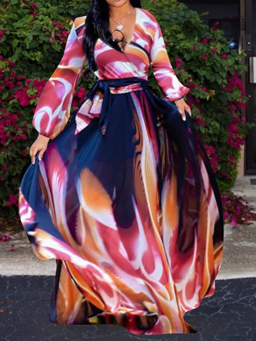 Long Sleeve V-Neck Print Color Block Women's Maxi Dress