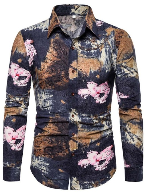 Button Lapel Casual Color Block Single-Breasted Men's Shirt