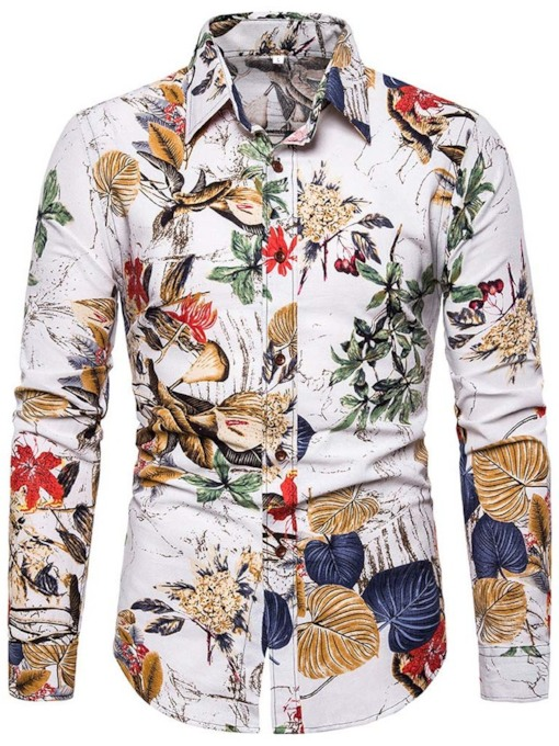 Floral Lapel Casual Print Single-Breasted Men's Shirt