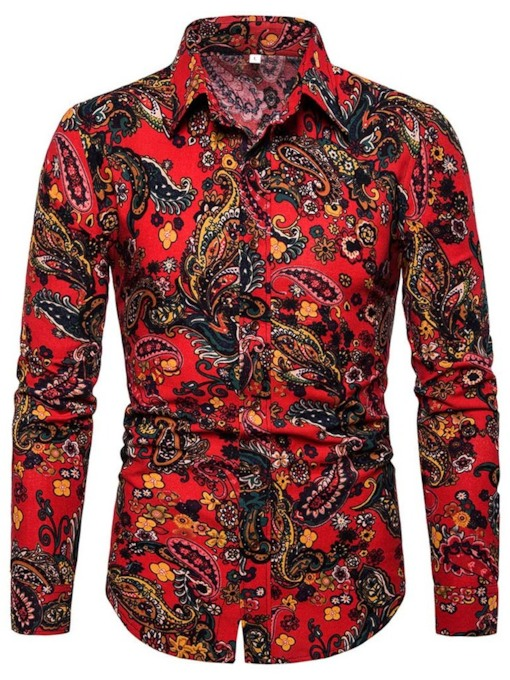 African Fashion Print Casual Lapel Color Block Button Slim Men's Shirt