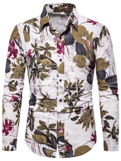 Print Plant Casual Long Sleeves Lapel Single-Breasted Men's Shirt