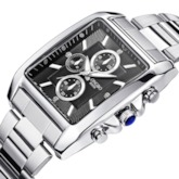 Square Analog Quartz Clock Stainless Steel Men's Watches