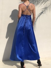 V-Neck Sleeveless Backless Plain Women's Maxi Dress