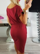 Short Sleeve Mid-Calf Round Neck Pullover Women's Day Dress