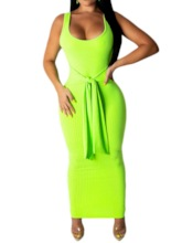 Scoop Sleeveless Lace-Up Pullover Women's Maxi Dress