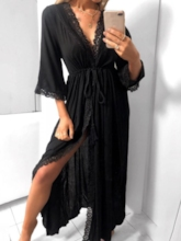 V-Neck Three-Quarter Sleeve Lace-Up Mid Waist Women's Maxi Dress