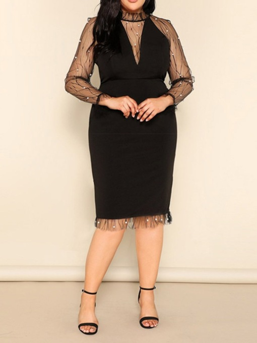 Plus Size Patchwork Stand Collar Long Sleeve Pullover Women's Dress