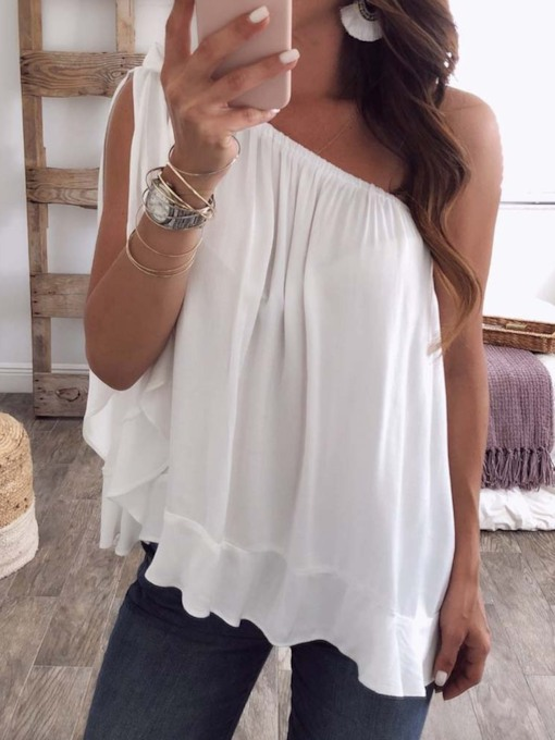 Oblique Collar Asymmetric Plain Sleeveless Women's Blouse