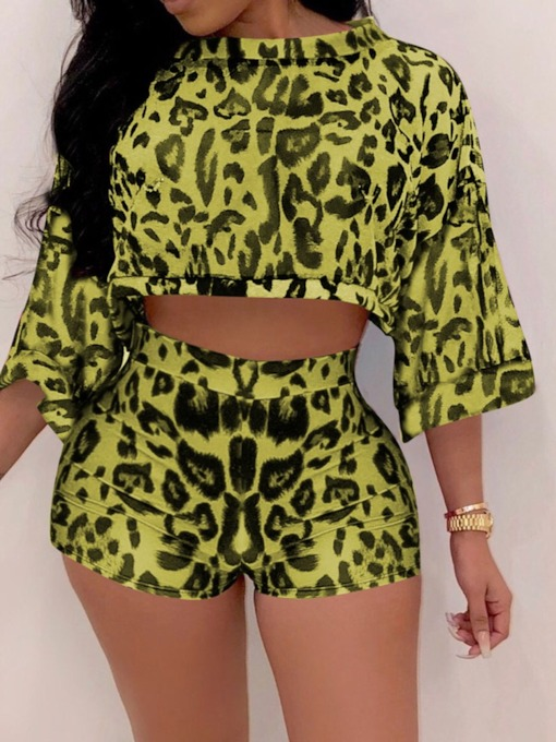 Print Office Lady Shorts Leopard Pullover Women's Two Piece Sets
