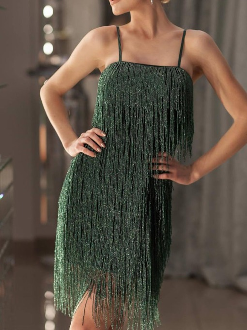 Sleeveless Knee-Length Tassel Pullover Women's Party Dress