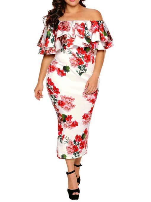 Plus Size Off Shoulder Half Sleeve Print Pullover Women's Dress