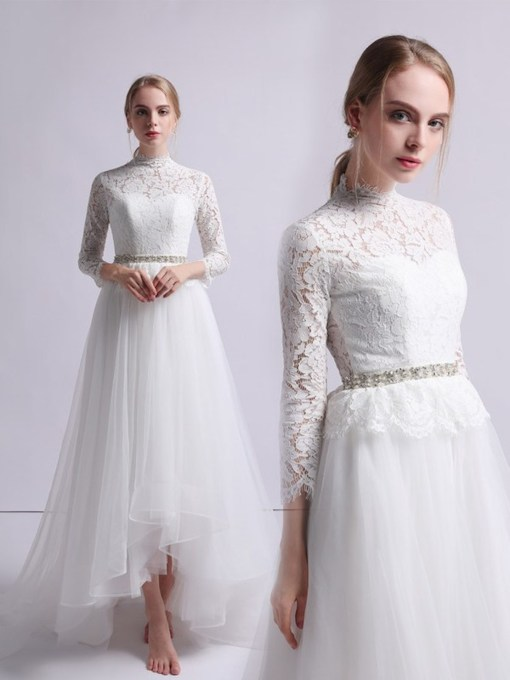 3/4 Length Sleeves High Neck Lace Outdoor Wedding Dress 2019