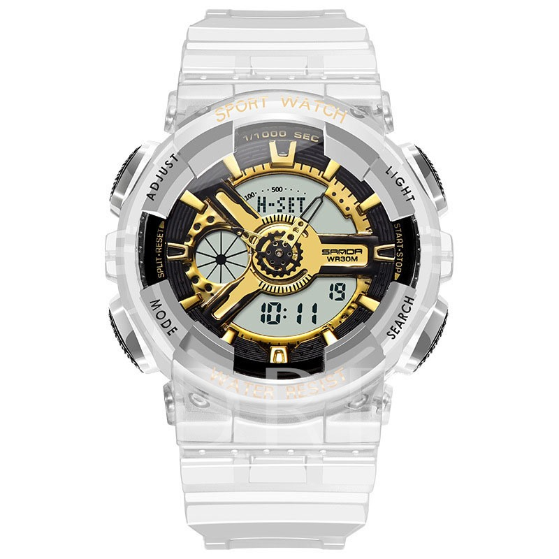 Auto Date Digital Hardlex Transparent Band Men's Watch