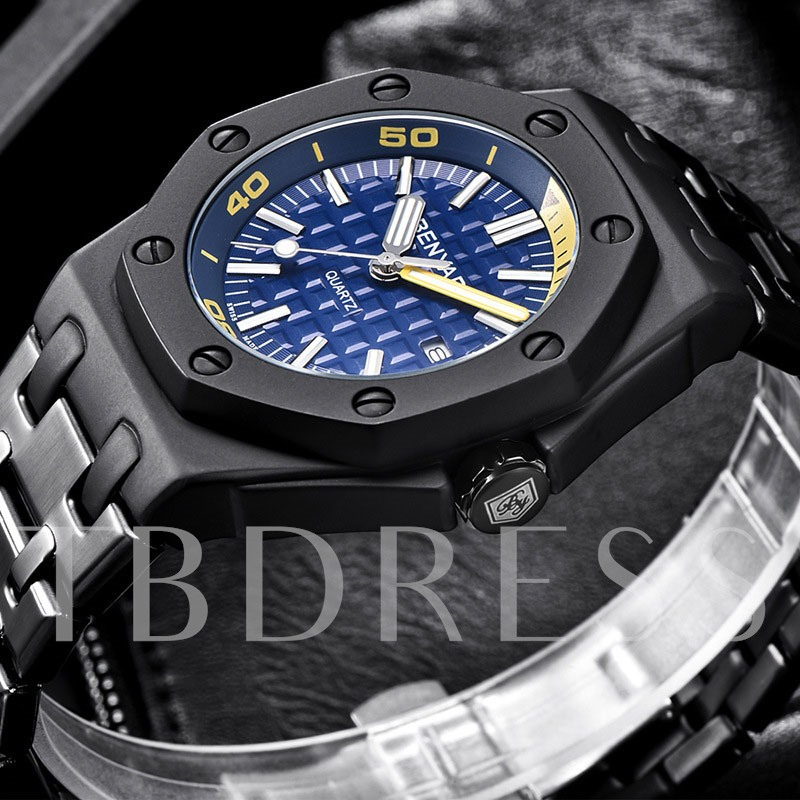Hardlex Round Quartz Stainless Steel Men's Watch