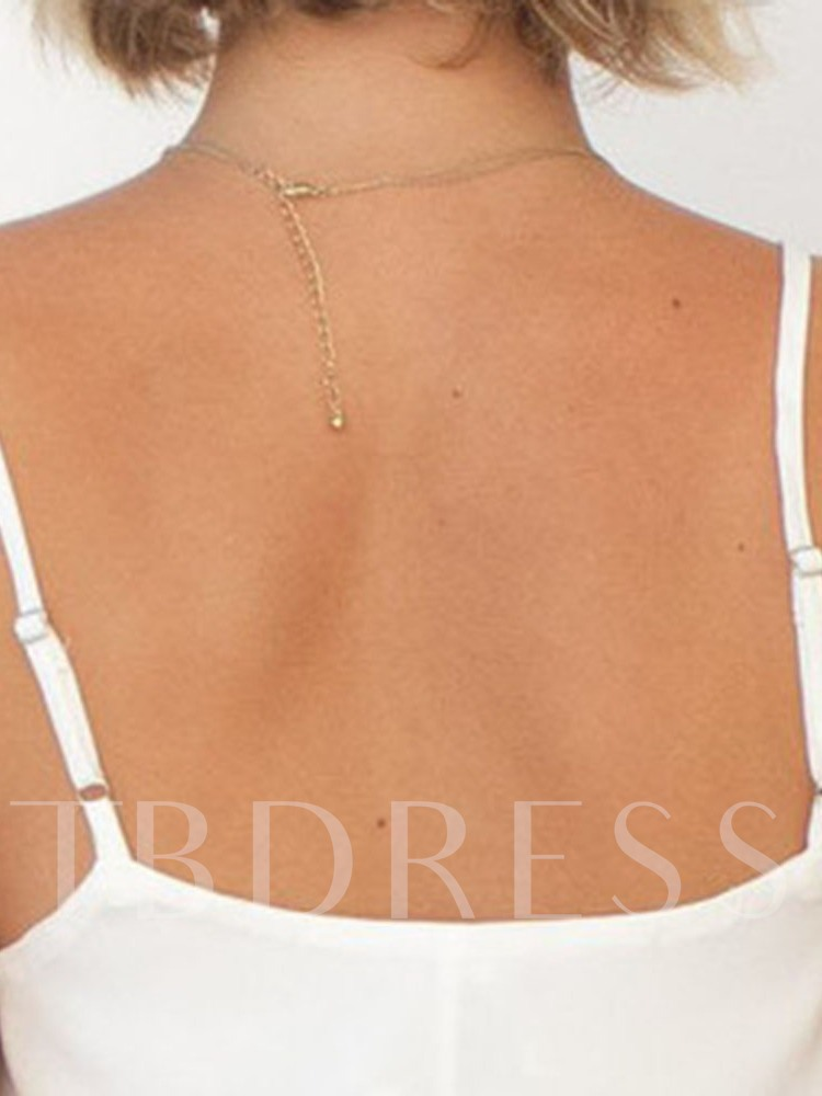 Spaghetti Straps Polyester Summer Asymmetric Mid-Length Women's Tank Top