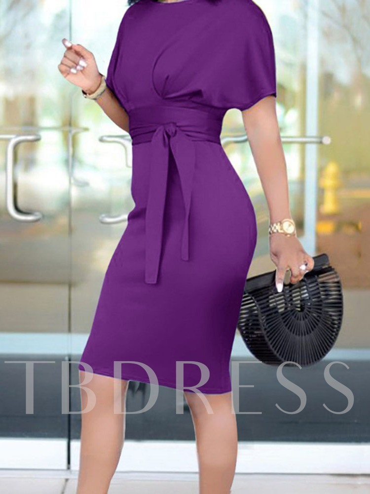 Round Neck Lace-Up Batwing Sleeve Women's Bodycon Dress