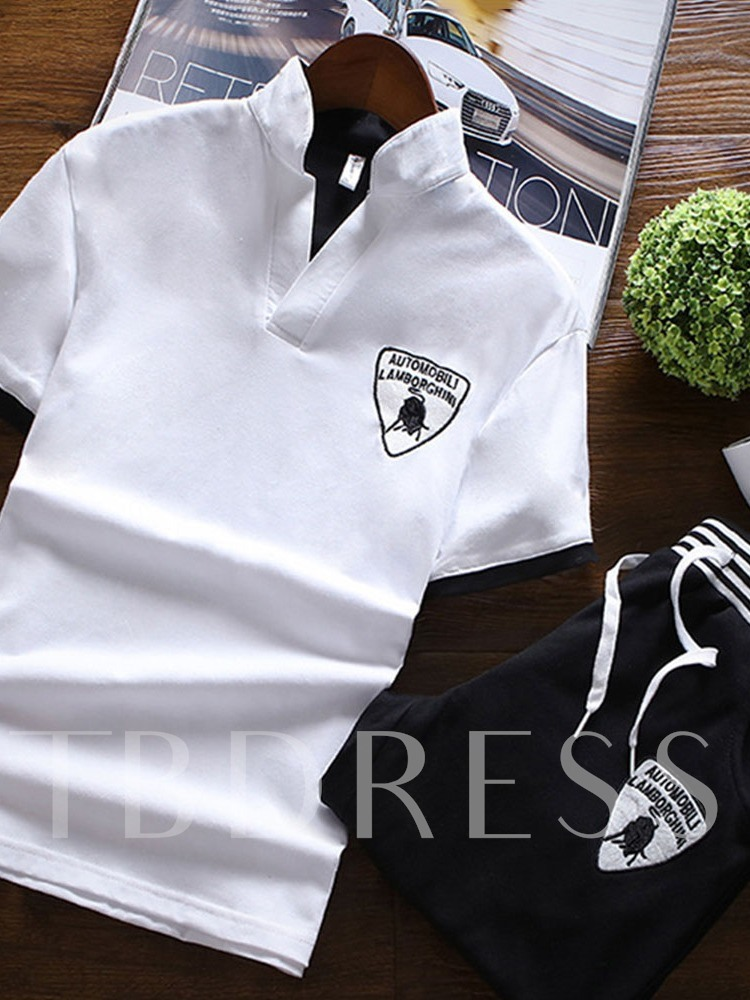 Color Block Lace-Up Casual T-Shirt Summer Men's Outfit