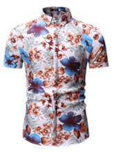 Blue/Red Casual Floral Print Lapel Vacation Beach Men's Shirt