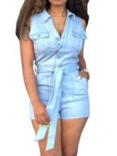 Button Western Shorts Plain Slim Women's Romper
