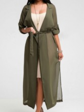 Lace-Up Belt Long Fall Women's Trench Coat