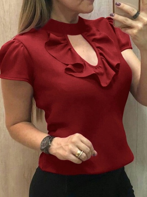 Plain Ruffle Short Sleeve Standard Women's Blouse