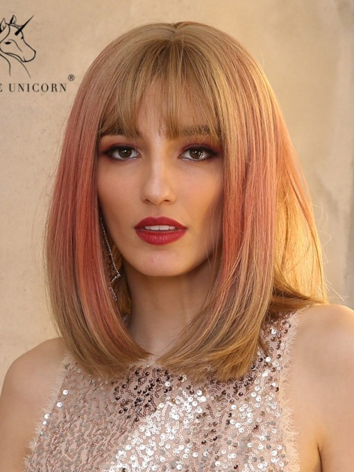 Medium Bob Style Women's Ombre Color Straight Synthetic Hair Capless Wigs With Bangs 14 Inches
