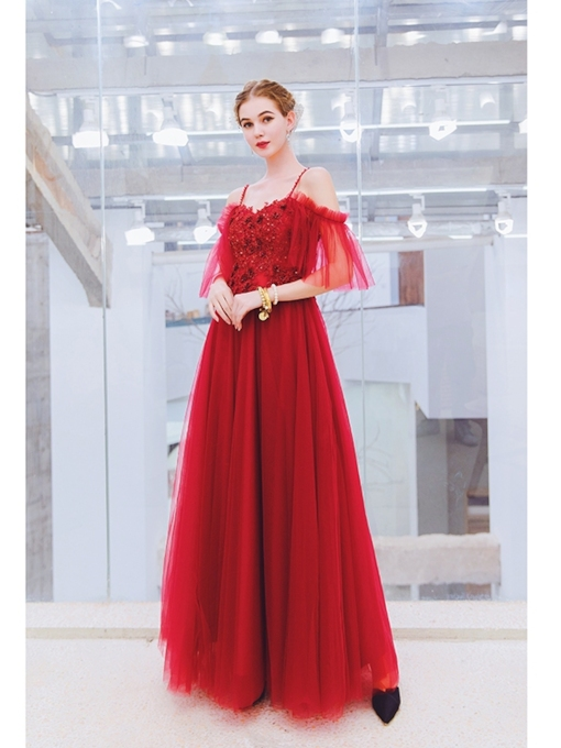A-Line Floor-Length Appliques Spaghetti Straps Prom Dress 2019